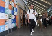 10 July 2018; Georgie Poynton of Dundalk and his team-mates on their arrival into Tallinn Airport ahead of the UEFA Europa League 1st Qualifying Round First Leg match between Levadia Tallinn and Dundalk on Thursday. Photo by Matt Browne/Sportsfile