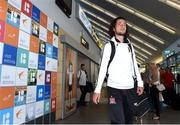 10 July 2018; Krisztian Adorjan of Dundalk and his team-mates on their arrival into Tallinn Airport ahead of the UEFA Europa League 1st Qualifying Round First Leg match between Levadia Tallinn and Dundalk on Thursday.Photo by Matt Browne/Sportsfile