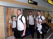 10 July 2018; Chris Shields, left, Brian Gartland, centre, and Patrick McEleney of Dundalk on their arrival into Tallinn Airport ahead of the UEFA Europa League 1st Qualifying Round First Leg match between Levadia Tallinn and Dundalk on Thursday. Photo by Matt Browne/Sportsfile