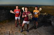 10 July 2018; Seamus Harnedy of Cork, Johnny Coen of Galway, and David Fitzgerald of Clare in attendance during the GAA Hurling and Football All Ireland Senior Championship Series National Launch at Dun Aengus in the Aran Islands, Co Galway. Photo by Diarmuid Greene/Sportsfile