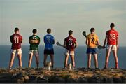 10 July 2018; In attendance at the GAA Hurling and Football All Ireland Senior Championship Series National Launch at Dun Aengus in the Aran Islands, Co Galway, are from left, Damien Comer of Galway, Shane Enright of Kerry, Michael Fitzsimons of Dublin, Johnny Coen of Galway, David Fitzgerald of Clare, and Seamus Harnedy of Cork. Photo by Diarmuid Greene/Sportsfile