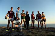 10 July 2018; In attendance at the GAA Hurling and Football All Ireland Senior Championship Series National Launch at Dun Aengus in the Aran Islands, Co Galway, are from left, Damien Comer of Galway, Michael Fitzsimons of Dublin with the Sam Maguire Cup and Shane Enright of Kerry, Uachtarán Chumann Lúthchleas Gael John Horan, Seamus Harnedy of Cork, Johnny Coen of Galway with the Liam MacCarthy Cup and David Fitzgerald of Clare. Photo by Diarmuid Greene/Sportsfile