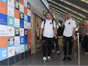 10 July 2018; Sam Byrne, left, and Karolis Chvedukas of Dundalk on their arrival to Tallinn Airport ahead of the UEFA Europa League 1st Qualifying Round First Leg match between Levadia Tallinn and Dundalk on Thursday. Photo by Matt Browne/Sportsfile