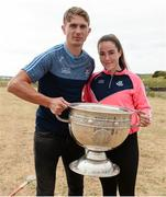 10 July 2018; Michael Fitzsimons of Dublin with Aoife Guildea aged 15 from Inis Mór, Co. Galway, during a visit to Aran Islands GAA club prior to the GAA Hurling and Football All Ireland Senior Championship Series National Launch at the Aran Islands, Co Galway. Photo by Diarmuid Greene/Sportsfile