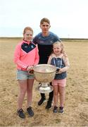 10 July 2018; Michael Fitzsimons of Dublin with Rachael Conneely and Aideen Conneely from Headford, Co. Galway, during a visit to Aran Islands GAA club prior to the GAA Hurling and Football All Ireland Senior Championship Series National Launch at the Aran Islands, Co Galway.   Photo by Diarmuid Greene/Sportsfile