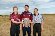 10 July 2018; Johnny Coen of Galway with Aisling Mullen, left, Aoife Guildea, from Inis Mór, Co. Galway, during a visit to Aran Islands GAA club prior to the GAA Hurling and Football All Ireland Senior Championship Series National Launch at the Aran Islands, Co Galway. Photo by Diarmuid Greene/Sportsfile