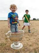 10 July 2018; Eoghan Ó Moran, aged 2, and Cillian O'Moran, aged 8, with the Sam Maguire cup during a visit to Aran Islands GAA club prior to the GAA Hurling and Football All Ireland Senior Championship Series National Launch at the Aran Islands, Co Galway.   Photo by Diarmuid Greene/Sportsfile