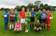 11 July 2018; Footballers, from left, Amidat Karimu of Limerick FC, Caitlin Quinn of Galway WFC, Rionas Crowley of Cork City WFC, Niamhie Taylor Hughes of Wexford Youths FC, Aife Haran of Sligo Rovers WFC, Bronagh Gallagher of Donegal Women's League, Chloe Darby of Athlone Town, Rachel McGrath of Peamount FC, Laura Shankland of Greystones United AFC, Nadine Clare of Waves FC, and Mia Dodd of Shelbourne FC, during a Continental Tyres Under 17 Women's National League launch at the FAI HQ in Abbotstown, Dublin. Photo by Piaras Ó Mídheach/Sportsfile
