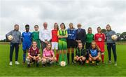 11 July 2018; Tom Dennigan, Continental Tyres, centre, and Fran Gavin, FAI Competitions Director, with Republic of Ireland Senior players Heather Payne, left, and Isibeal Atkinson, alongside footballers, back row from left, Amidat Karimu of Limerick FC, Rionas Crowley of Cork City WFC, Aife Haran of Sligo Rovers WFC, Bronagh Gallagher of Donegal Women's League, Chloe Darby of Athlone Town, Laura Shankland of Greystones United AFC, Mia Dodd of Shelbourne FC. Front row, from left, Caitlin Quinn of Galway WFC, Niamhie Taylor Hughes of Wexford Youths FC, Rachel McGrath of Peamount FC, and Nadine Clare of Waves FC, during a Continental Tyres Under 17 Women's National League launch at the FAI HQ in Abbotstown, Dublin. Photo by Piaras Ó Mídheach/Sportsfile