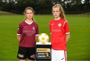 11 July 2018; Caitlin Quinn of Galway WFC, left, and Aife Haran of Sligo Rovers WFC during a Continental Tyres Under 17 Women's National League launch at the FAI HQ in Abbotstown, Dublin. Photo by Piaras Ó Mídheach/Sportsfile