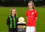 11 July 2018; Rachel McGrath of Peamount FC, left, and Aife Haran of Sligo Rovers WFC during a Continental Tyres Under 17 Women's National League launch at the FAI HQ in Abbotstown, Dublin. Photo by Piaras Ó Mídheach/Sportsfile