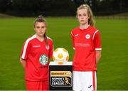 11 July 2018; Mia Dodd of Shelbourne FC, left, and Aife Haran of Sligo Rovers WFC during a Continental Tyres Under 17 Women's National League launch at the FAI HQ in Abbotstown, Dublin. Photo by Piaras Ó Mídheach/Sportsfile