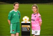 11 July 2018; Rionas Crowley of Cork City WFC, left, and Niamhie Taylor Hughes of Wexford Youths FC during a Continental Tyres Under 17 Women's National League launch at the FAI HQ in Abbotstown, Dublin. Photo by Piaras Ó Mídheach/Sportsfile