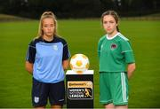 11 July 2018; Nadine Clare of Waves FC, left, and Rionas Crowley of Cork City WFC during a Continental Tyres Under 17 Women's National League launch at the FAI HQ in Abbotstown, Dublin. Photo by Piaras Ó Mídheach/Sportsfile