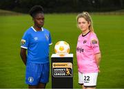 11 July 2018; Amidat Karimu of Limerick FC, left, and Niamhie Taylor Hughes of Wexford Youths FC during a Continental Tyres Under 17 Women's National League launch at the FAI HQ in Abbotstown, Dublin. Photo by Piaras Ó Mídheach/Sportsfile
