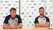 11 July 2018; Dundalk manager Stephen Kenny and Dane Massey of Dundalk during a press conference at the Kadriorg Stadium in Tallinn, Estonia. Photo by Matt Browne/Sportsfile
