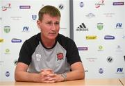 11 July 2018; Dundalk manager Stephen Kenny during a press conference at the Kadriorg Stadium in Tallinn, Estonia. Photo by Matt Browne/Sportsfile