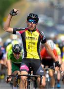 12 July 2018; Ian Spenkelink, Tempo-Hoppenbrouwers, celebrates at the finish of Stage Three of the Eurocycles Eurobaby Junior Tour 2018, Ennis, Co. Clare. Photo by Stephen McMahon/Sportsfile