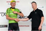12 July 2018; On the awards podium, stage winner Ian Spenkelink, Tempo-Hoppenbrouwers, receives the Points Leader jersey from Alan Clarke, Scott Bicycles, at the finish of Stage 3 of the Eurocycles Eurobaby Junior Tour 2018, Ennis, Co. Clare. Photo by Stephen McMahon/Sportsfile