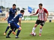 12 July 2018; Ben Fisk of Derry City in action against Hurenka Artsem of Dinamo Minsk during the UEFA Europa League 1st Qualifying Round First Leg match between Derry City and Dinamo Minsk at Brandywell Stadium in Derry. Photo by Oliver McVeigh/Sportsfile
