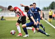 12 July 2018; Ben Fisk of Derry City in action against Maksim Zhaunerchyk of Dinamo Minsk during the UEFA Europa League 1st Qualifying Round First Leg match between Derry City and Dinamo Minsk at Brandywell Stadium in Derry. Photo by Oliver McVeigh/Sportsfile