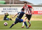12 July 2018; Conor McDermott of Derry City in action against Anton Saroka of Dinamo Minsk during the UEFA Europa League 1st Qualifying Round First Leg match between Derry City and Dinamo Minsk at Brandywell Stadium in Derry. Photo by Oliver McVeigh/Sportsfile