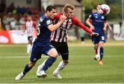 12 July 2018; Alister Roy of Derry City  in action against Maksim Zhaunerchyk of Dinamo Minsk during the UEFA Europa League 1st Qualifying Round First Leg match between Derry City and Dinamo Minsk at Brandywell Stadium in Derry. Photo by Oliver McVeigh/Sportsfile