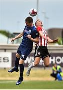 12 July 2018; Anton Saroka of Dinamo Minsk in action against Aaron Splaine of Derry City during the UEFA Europa League 1st Qualifying Round First Leg match between Derry City and Dinamo Minsk at Brandywell Stadium in Derry. Photo by Oliver McVeigh/Sportsfile