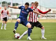 12 July 2018; Maksim Zhaunerchyk of Dinamo Minsk in action against Alister Roy of Derry City during the UEFA Europa League 1st Qualifying Round First Leg match between Derry City and Dinamo Minsk at Brandywell Stadium in Derry. Photo by Oliver McVeigh/Sportsfile