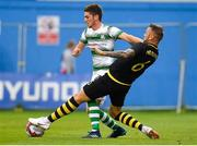 12 July 2018; Dylan Watts of Shamrock Rovers in action against Alexander Miloševic of AIK during the UEFA Europa League 1st Qualifying Round First Leg match between Shamrock Rovers and AIK at Tallaght Stadium, Dublin. Photo by Brendan Moran/Sportsfile