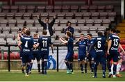 12 July 2018; Dinamo Minsk players celebrate after scoring their second goal during the UEFA Europa League 1st Qualifying Round First Leg match between Derry City and Dinamo Minsk at Brandywell Stadium in Derry. Photo by Oliver McVeigh/Sportsfile