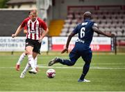 12 July 2018; Aaron Splaine of Derry City in action against Seidu Yahaya of Dinamo Minsk during the UEFA Europa League 1st Qualifying Round First Leg match between Derry City and Dinamo Minsk at Brandywell Stadium in Derry. Photo by Oliver McVeigh/Sportsfile