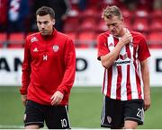 12 July 2018; A dejected Ben Fisk and Dean Shiels of Derry City after the UEFA Europa League 1st Qualifying Round First Leg match between Derry City and Dinamo Minsk at Brandywell Stadium in Derry. Photo by Oliver McVeigh/Sportsfile