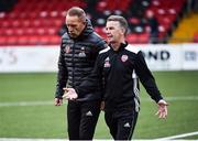 12 July 2018; A dejected Derry City manager Kenny Shiels and assistant manager Hugh Harkin leave the field after the UEFA Europa League 1st Qualifying Round First Leg match between Derry City and Dinamo Minsk at Brandywell Stadium in Derry. Photo by Oliver McVeigh/Sportsfile