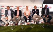 12 July 2018; Panellists, from left, Sky Sports analyst Senan Connell, Sky Sports analyst Peter Canavan, Sky Sports mentor Cora Staunton, Sky Sports analyst James Horan, and Irish Independent GAA Correspondent Colm Keys at the Sky Sports GAA Football Roadshow at Kilmacud Crokes, Dublin. Ahead of its coverage of the Super 8's, the Sky Sports team of expert analysts visited Kilmacud for a special preview night before the opening round of fixtures. Entering into the fifth year of its partnership with the GAA, Sky Sports is extending its support beyond the screen, visiting clubs with its GAA Roadshow series while also supporting the GAA Super Games Centres, as part of a €3million investment in grassroots initiatives over five years. Photo by Piaras Ó Mídheach/Sportsfile