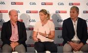12 July 2018; Panellists, from left, Sky Sports analyst Peter Canavan, Sky Sports mentor Cora Staunton, and Sky Sports analyst James Horan at the Sky Sports GAA Football Roadshow at Kilmacud Crokes, Dublin. Ahead of its coverage of the Super 8's, the Sky Sports team of expert analysts visited Kilmacud for a special preview night before the opening round of fixtures. Entering into the fifth year of its partnership with the GAA, Sky Sports is extending its support beyond the screen, visiting clubs with its GAA Roadshow series while also supporting the GAA Super Games Centres, as part of a €3million investment in grassroots initiatives over five years. Photo by Piaras Ó Mídheach/Sportsfile