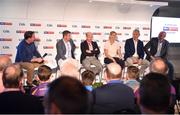 12 July 2018; Panellists, from left, Sky Sports reporter Damian Lawlor, Sky Sports analyst Senan Connell, Sky Sports analyst Peter Canavan, Sky Sports mentor Cora Staunton, Sky Sports analyst James Horan, and Irish Independent GAA Correspondent Colm Keys at the Sky Sports GAA Football Roadshow at Kilmacud Crokes, Dublin. Ahead of its coverage of the Super 8's, the Sky Sports team of expert analysts visited Kilmacud for a special preview night before the opening round of fixtures. Entering into the fifth year of its partnership with the GAA, Sky Sports is extending its support beyond the screen, visiting clubs with its GAA Roadshow series while also supporting the GAA Super Games Centres, as part of a €3million investment in grassroots initiatives over five years. Photo by Piaras Ó Mídheach/Sportsfile