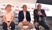 12 July 2018; Panellists, from left, Sky Sports mentor Cora Staunton, Sky Sports analyst James Horan, and Irish Independent GAA Correspondent Colm Keys at the Sky Sports GAA Football Roadshow at Kilmacud Crokes, Dublin. Ahead of its coverage of the Super 8's, the Sky Sports team of expert analysts visited Kilmacud for a special preview night before the opening round of fixtures. Entering into the fifth year of its partnership with the GAA, Sky Sports is extending its support beyond the screen, visiting clubs with its GAA Roadshow series while also supporting the GAA Super Games Centres, as part of a €3million investment in grassroots initiatives over five years. Photo by Piaras Ó Mídheach/Sportsfile