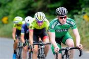 13 July 2018; Liam Curley, Ireland National Team, leads the breakaway group during the Eurocycles Eurobaby Junior Tour of Ireland 2018 Stage Four, Ennis to Ballyvaughan. Photo by Stephen McMahon/Sportsfile