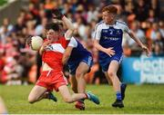 13 July 2018; Conleth McGuckian of Derry in action against Jordan McGarrell of Monaghan during the Electric Ireland Ulster GAA Football Minor Championship Final match between Derry and Monaghan at the Athletic Grounds, Armagh. Photo by Oliver McVeigh/Sportsfile