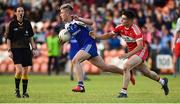 13 July 2018; Jordan McGarrell of Monaghan in action against Niall Doyle of Derry during the Electric Ireland Ulster GAA Football Minor Championship Final match between Derry and Monaghan at the Athletic Grounds, Armagh. Photo by Oliver McVeigh/Sportsfile