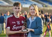 13 July 2018; Pictured is Susan Geraghty, PAYG and Residential Gas Manager with Electric Ireland, who presented the man of the match award to Matthew Cooley of Galway at the Electric Ireland GAA Minor Championships, Electric Ireland GAA Connacht Minor Football Championship Final. Throughout the Championships, fans can follow the conversation, vote for their player of the week, support the Minors and be a part of something major through the hashtag #GAAThisIsMajor. Photo by Matt Browne/Sportsfile