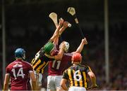 8 July 2018; Conor Cooney of Galway, 14, and Cillian Buckley of Kilkenny, 6, look on as their team-mates Paddy Deegan of Kilkenny and Joe Canning of Galway both fail to catch the sliothar during the Leinster GAA Hurling Senior Championship Final Replay match between Kilkenny and Galway at Semple Stadium in Thurles, Co Tipperary. Photo by Ray McManus/Sportsfile