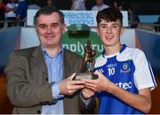 13 July 2018; Patrick McCarney, Business Markets, Electric Ireland, presents Aaron Mulligan of Monaghan with the Player of the Match award for his major performance in the Electric Ireland GAA Ulster Minor Football Championship Final. Throughout the Championships, fans can follow the conversation, vote for their player of the week, support the Minors and be a part of something major through the hashtag #GAAThisIsMajor. Photo by Oliver McVeigh/Sportsfile