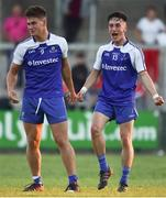 13 July 2018; Andrew Moore, left, and Donnach Swinburne of Monaghan celebrate following the Electric Ireland Ulster GAA Football Minor Championship Final match between Derry and Monaghan at the Athletic Grounds in Armagh. Photo by Oliver McVeigh/Sportsfile