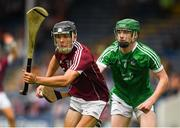 8 July 2018; Dean Reilly of Galway in action against Emmet McEvoy of Limerick during the Electric Ireland GAA Hurling All-Ireland Minor Championship Quarter-Final match between Galway and Limerick at Semple Stadium in Thurles, Co Tipperary. Photo by Ray McManus/Sportsfile