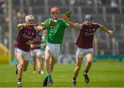 8 July 2018; Micheal Martin of Limerick in action against Oisín Flannery, left, and Evan Duggan of Galway during the Electric Ireland GAA Hurling All-Ireland Minor Championship Quarter-Final match between Galway and Limerick at Semple Stadium in Thurles, Co Tipperary. Photo by Ray McManus/Sportsfile