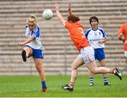14 July 2018; Ciara McAnespie of Monaghan in action against Caoimhe Morgan of Armagh during the TG4 All-Ireland Ladies Football Senior Championship Group 2 Round 1 match between Armagh and Monaghan at St Tiernach's Park, in Clones, Monaghan. Photo by Oliver McVeigh/Sportsfile