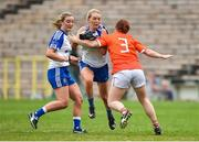 14 July 2018; Eimear McAnespie of Monaghan in action against Caoimhe Morgan of Armagh during the TG4 All-Ireland Ladies Football Senior Championship Group 2 Round 1 match between Armagh and Monaghan at St Tiernach's Park, in Clones, Monaghan. Photo by Oliver McVeigh/Sportsfile