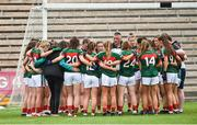 14 July 2018; Mayo Manager Peter Leahy giving his pre match team talk before the TG4 All-Ireland Ladies Football Senior Championship Group 4 Round 1 match between Cavan and Mayo at St Tiernach's Park, in Clones, Monaghan. Photo by Oliver McVeigh/Sportsfile